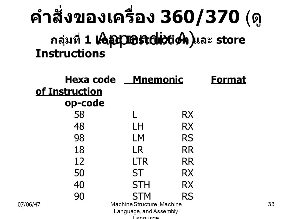 07/06/47Machine Structure, Machine Language, and Assembly Language 33 คำสั่งของเครื่อง 360/370 ( ดู Appendix A) กลุ่มที่ 1 Load Instruction และ store