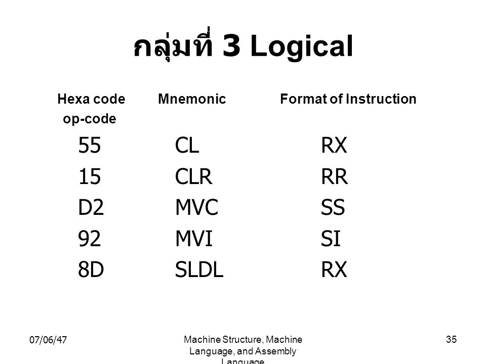 07/06/47Machine Structure, Machine Language, and Assembly Language 35 กลุ่มที่ 3 Logical Hexa code Mnemonic Format of Instruction op-code 55CLRX 15CLR