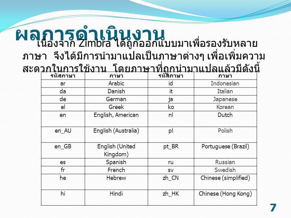 ผลการดำเนินงาน 8 แปลข้อความทั้ง 6 หมวดหมู่ คือ I18nMsg.properties, AjxMsg.properties, ZMsg.properties, ZaMsg.properties, ZmMsg.properties และ ZhMsg.properties เพื่อให้ Zimbra สามารถรองรับภาษาไทย  แปลข้อความจากภาษาอังกฤษเป็น ภาษาไทย รูปที่ 1 ตัวอย่างข้อความที่แปลเป็นภาษาไทย