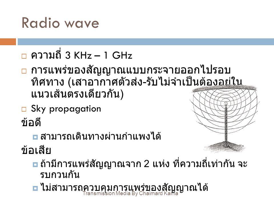 Radio wave Transmission Media By Chaimard Kama  ความถี่ 3 KHz – 1 GHz  การแพร่ของสัญญาณแบบกระจายออกไปรอบ ทิศทาง ( เสาอากาศตัวส่ง - รับไม่จำเป็นต้องอ