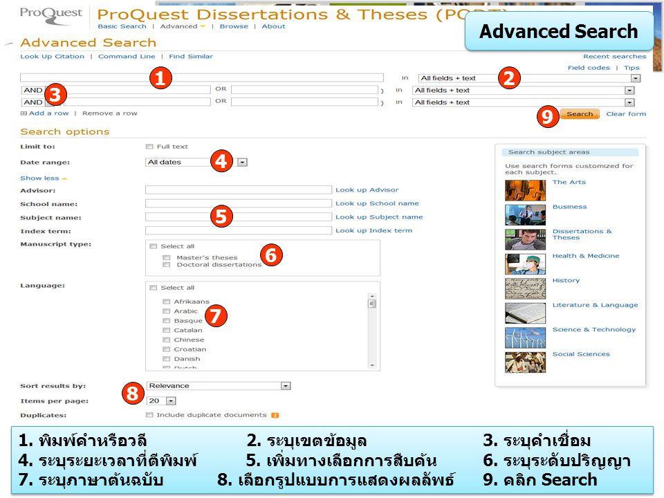 Command Line Search 1.พิมพ์คำค้นในรูปแบบชุดคำสั่ง 2.