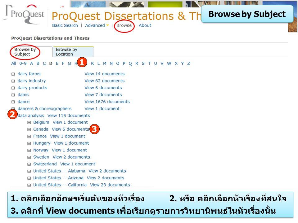 Browse by Subject 1 1. คลิกเลือกอักษรเริ่มต้นของหัวเรื่อง 2.