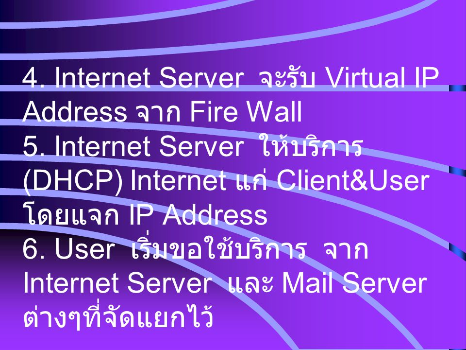 4. Internet Server จะรับ Virtual IP Address จาก Fire Wall 5. Internet Server ให้บริการ (DHCP) Internet แก่ Client&User โดยแจก IP Address 6. User เริ่ม