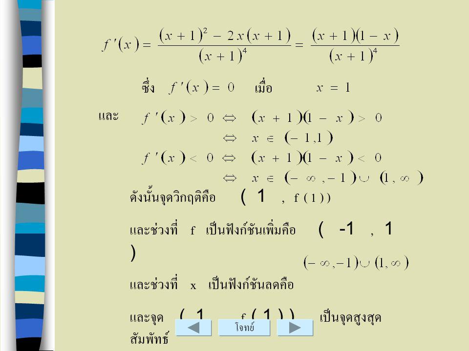 ข้อ.8 วิธีทำ lim x - 1 - lim x -1 + lim x x ดังนั้นเส้นตรง x = - 1 เป็นเส้นกำกับแนวดิ่ง โจทย์