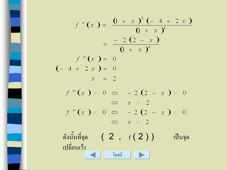 ซึ่ง เมื่อ และ ดังนั้นจุดวิกฤติคือ ( 1, f ( 1 ) ) และช่วงที่ f เป็นฟังก์ชันเพิ่มคือ ( -1, 1 ) และช่วงที่ x เป็นฟังก์ชันลดคือ และจุด ( 1, f ( 1 ) ) เป็
