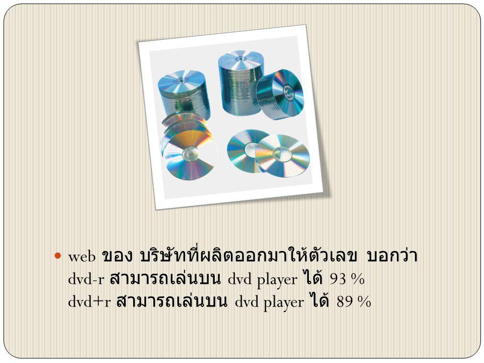  web ของ บริษัทที่ผลิตออกมาให้ตัวเลข บอกว่า dvd-r สามารถเล่นบน dvd player ได้ 93 % dvd+r สามารถเล่นบน dvd player ได้ 89 %