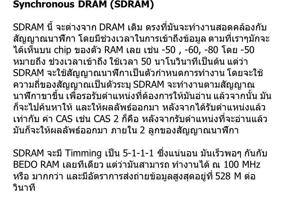 Synchronous DRAM (SDRAM) SDRAM นี้ จะต่างจาก DRAM เดิม ตรงที่มันจะทำงานสอดคล้องกับ สัญญาณนาฬิกา โดยมีช่วงเวลาในการเข้าถึงข้อมูล ตามที่เราๆมักจะ ได้เห็
