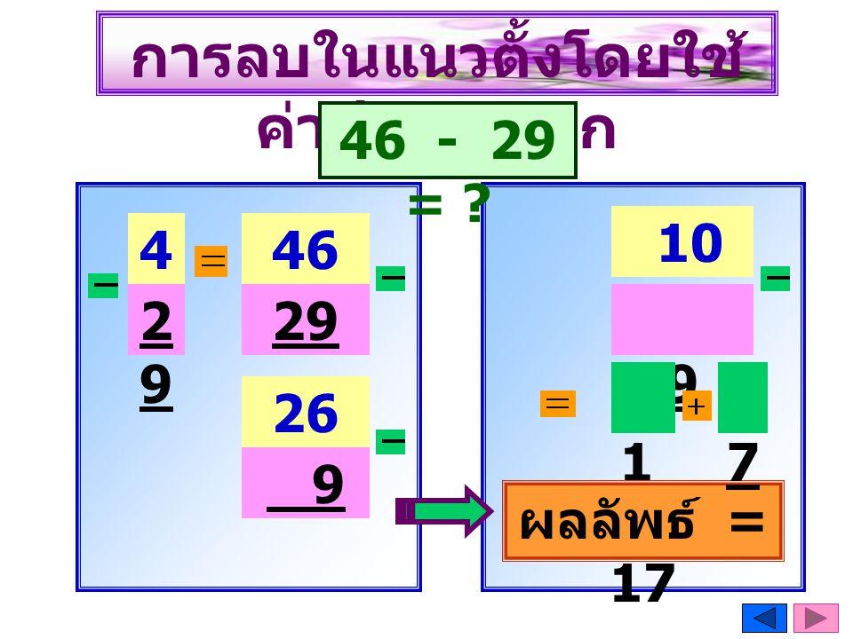 46 การลบในแนวตั้งโดยใช้ ค่าประจำหลัก 46 - 29 = ? 4646 2929 29 26 9 10 + 16 9 10 10 ผลลัพธ์ = 17 7
