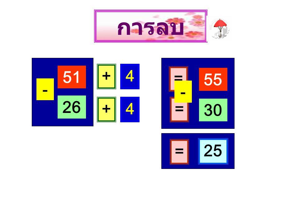 51 - 26 + 4 = 55 + 4 = 30 - = 25 การลบ