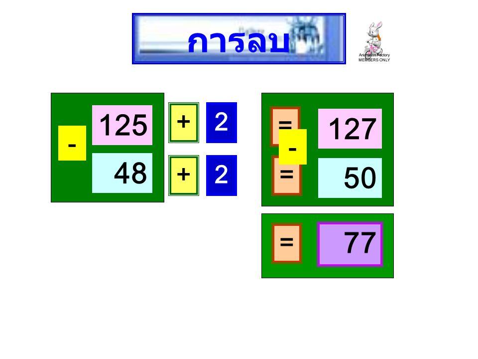 125 - 48 + 2 = 127 + 2 = 50 - = 77