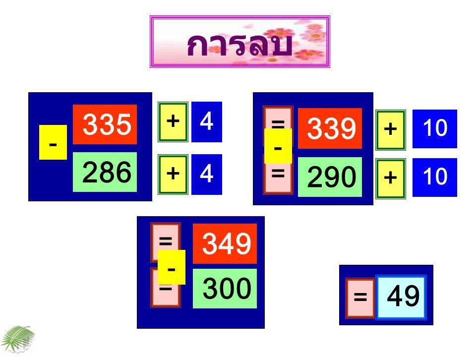 335 - 286 + 4 = 339 + 4 = 290 - = 49 การลบ + 10 + = 349 = 300 -