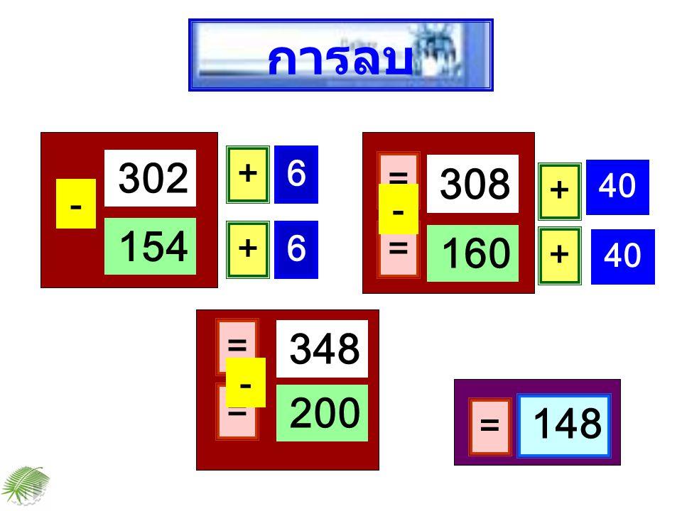 302 - 154 + 6 = 308 + 6 = 160 - = 148 + 40 + = 348 = 200 - การลบ