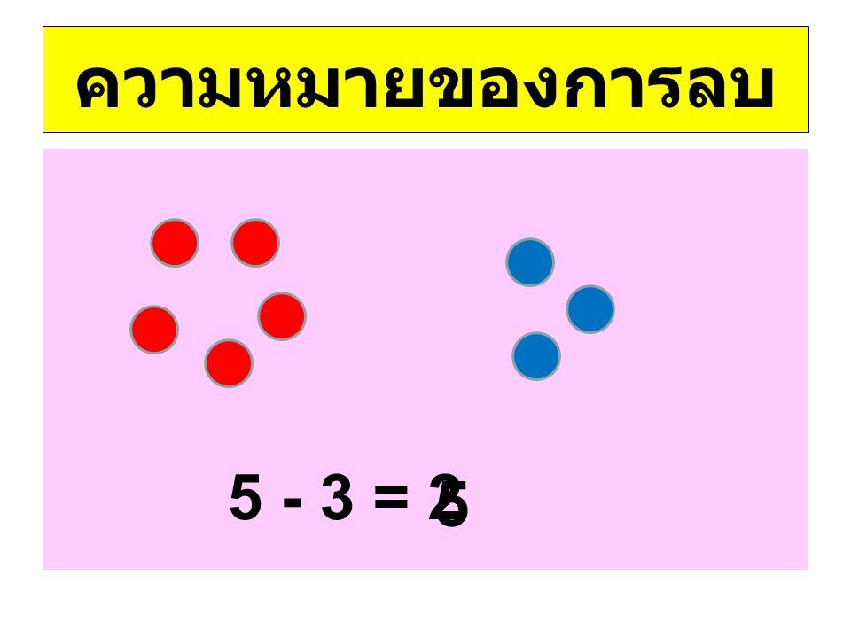 ความหมายของการลบ 5 - 3 =2 5