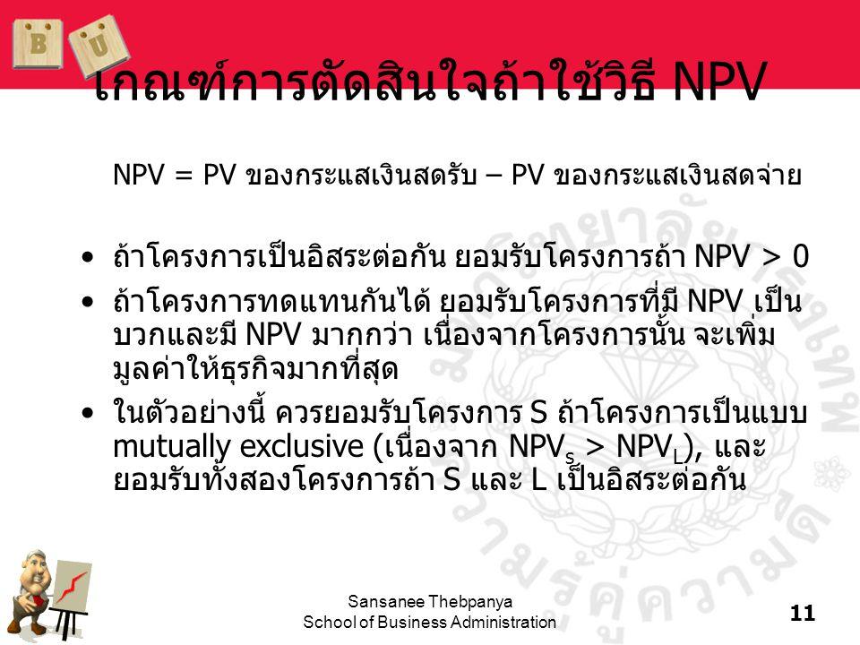 11 Sansanee Thebpanya School of Business Administration เกณฑ์การตัดสินใจถ้าใช้วิธี NPV NPV = PV ของกระแสเงินสดรับ – PV ของกระแสเงินสดจ่าย •ถ้าโครงการเ