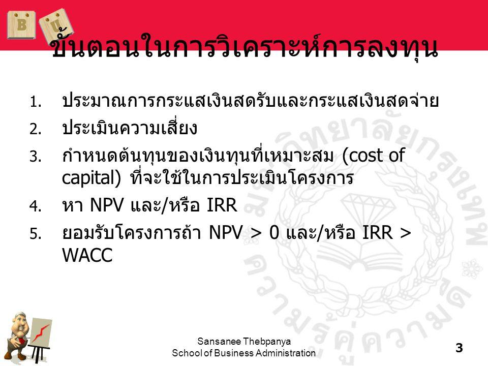 14 Sansanee Thebpanya School of Business Administration เกณฑ์การตัดสินใจถ้าใช้วิธี IRR •ถ้า IRR > WACC หมายความว่าอัตรา ผลตอบแทนจากโครงการมากกว่าต้นทุน ของเงินลงทุน และจะมีอัตราผลตอบแทน คงเหลือให้แก่ผู้ถือหุ้น