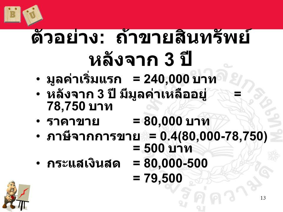 13 • มูลค่าเริ่มแรก = 240,000 บาท • หลังจาก 3 ปี มีมูลค่าเหลืออยู่ = 78,750 บาท • ราคาขาย = 80,000 บาท • ภาษีจากการขาย = 0.4(80,000-78,750) = 500 บาท • กระแสเงินสด = 80,000-500 = 79,500 ตัวอย่าง : ถ้าขายสินทรัพย์ หลังจาก 3 ปี