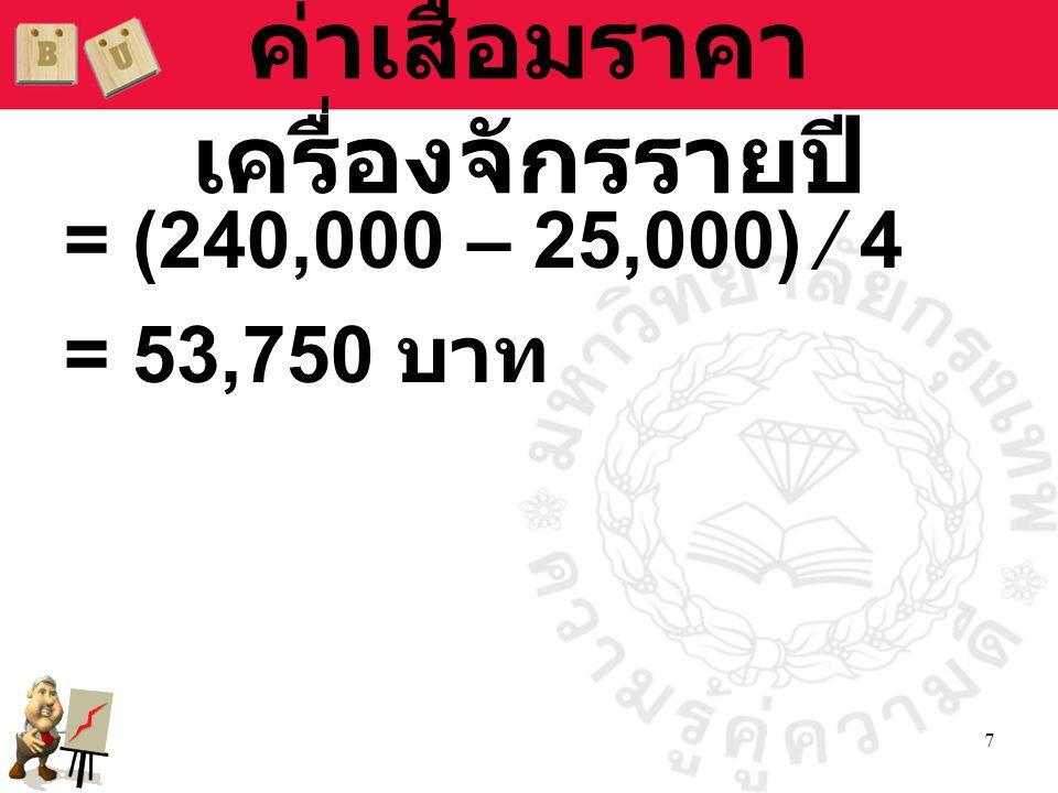 7 ค่าเสื่อมราคา เครื่องจักรรายปี = (240,000 – 25,000) ∕ 4 = 53,750 บาท