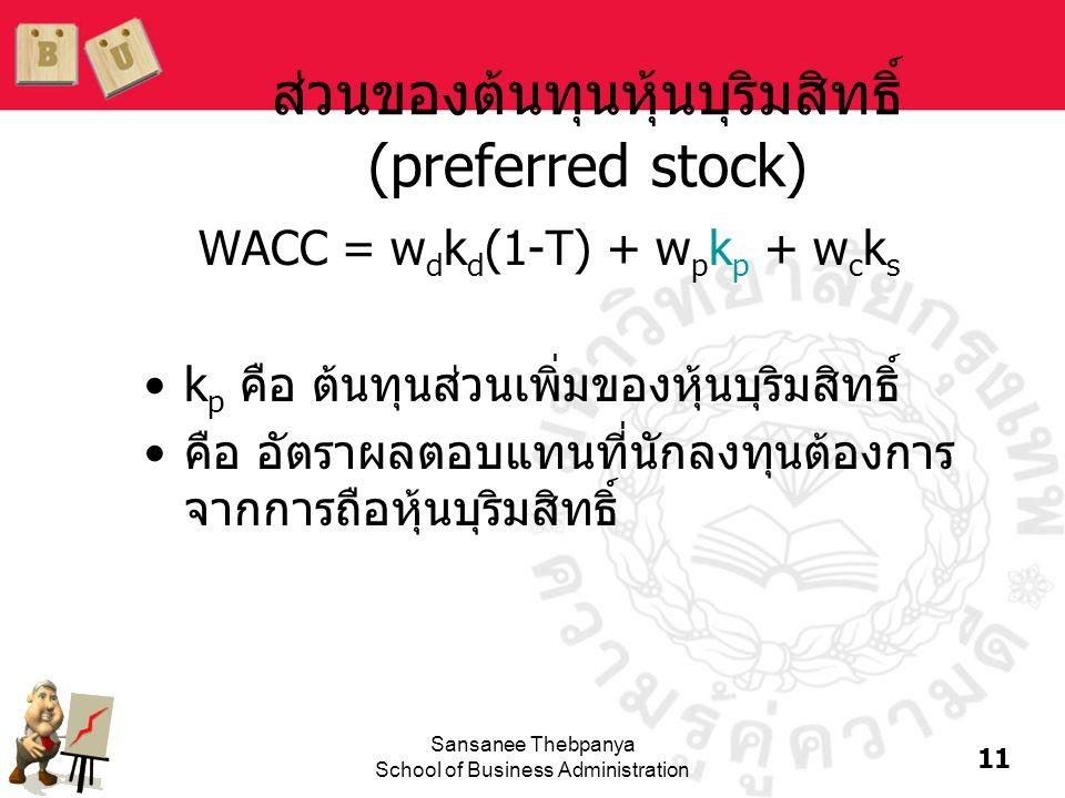 11 Sansanee Thebpanya School of Business Administration ส่วนของต้นทุนหุ้นบุริมสิทธิ์ (preferred stock) WACC = w d k d (1-T) + w p k p + w c k s •k p ค