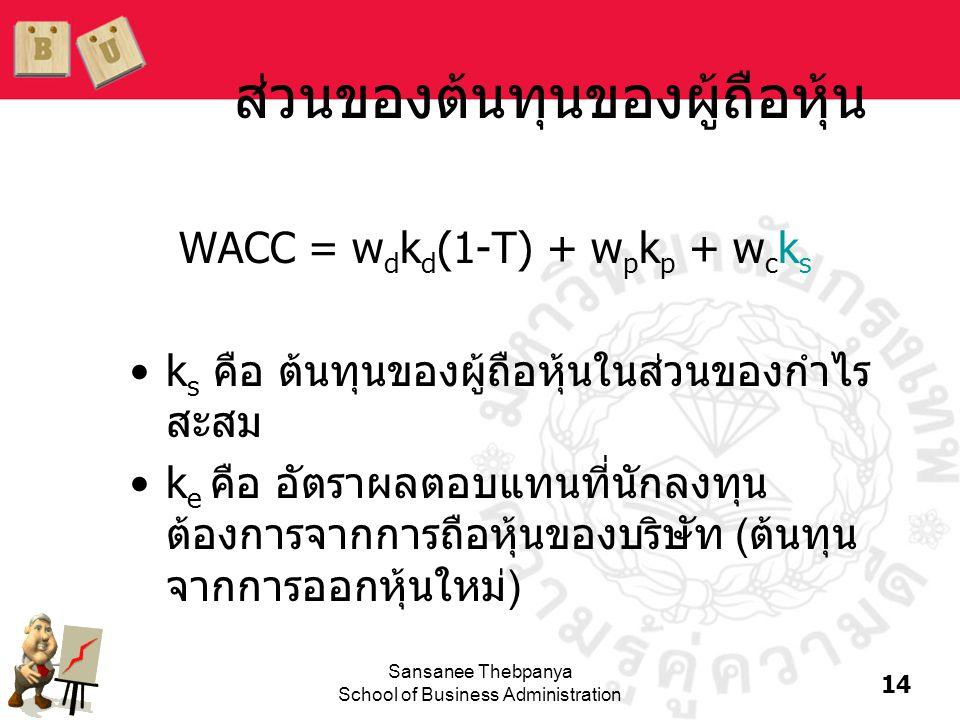 14 Sansanee Thebpanya School of Business Administration ส่วนของต้นทุนของผู้ถือหุ้น WACC = w d k d (1-T) + w p k p + w c k s •k s คือ ต้นทุนของผู้ถือหุ