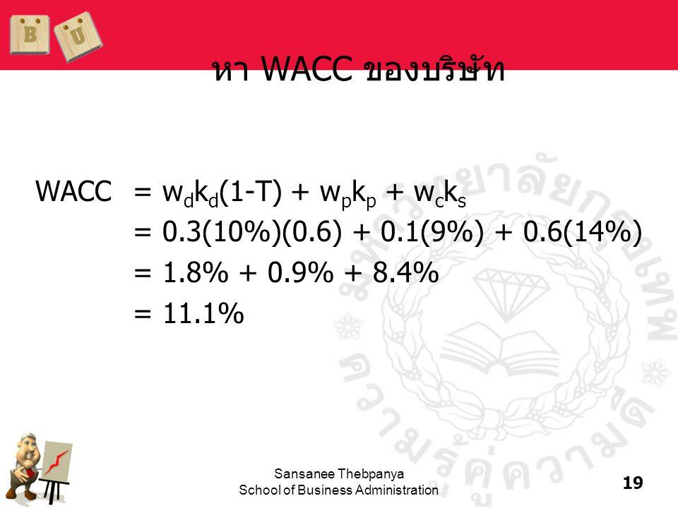 19 Sansanee Thebpanya School of Business Administration หา WACC ของบริษัท WACC= w d k d (1-T) + w p k p + w c k s = 0.3(10%)(0.6) + 0.1(9%) + 0.6(14%)