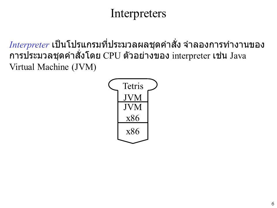 6 Interpreters Interpreter เป็นโปรแกรมที่ประมวลผลชุดคำสั่ง จำลองการทำงานของ การประมวลชุดคำสั่งโดย CPU ตัวอย่างของ interpreter เช่น Java Virtual Machine (JVM) JVM x86 JVM Tetris