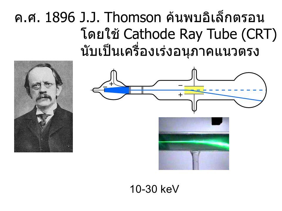 ค. ศ. 1896 J.J. Thomson ค้นพบอิเล็กตรอน โดยใช้ Cathode Ray Tube (CRT) นับเป็นเครื่องเร่งอนุภาคแนวตรง 10-30 keV
