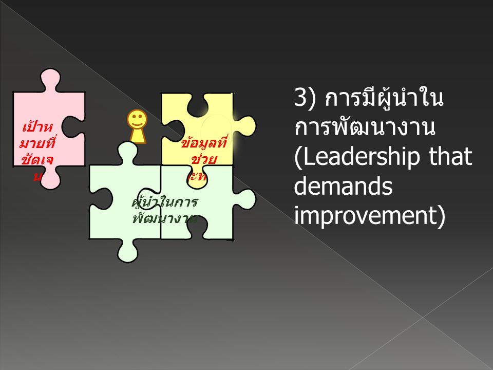 เป้าห มายที่ ชัดเจ น 3) การมีผู้นำใน การพัฒนางาน (Leadership that demands improvement) ข้อมูลที่ ช่วย สะท้อน ผลการ ทำงาน ผู้นำในการ พัฒนางาน