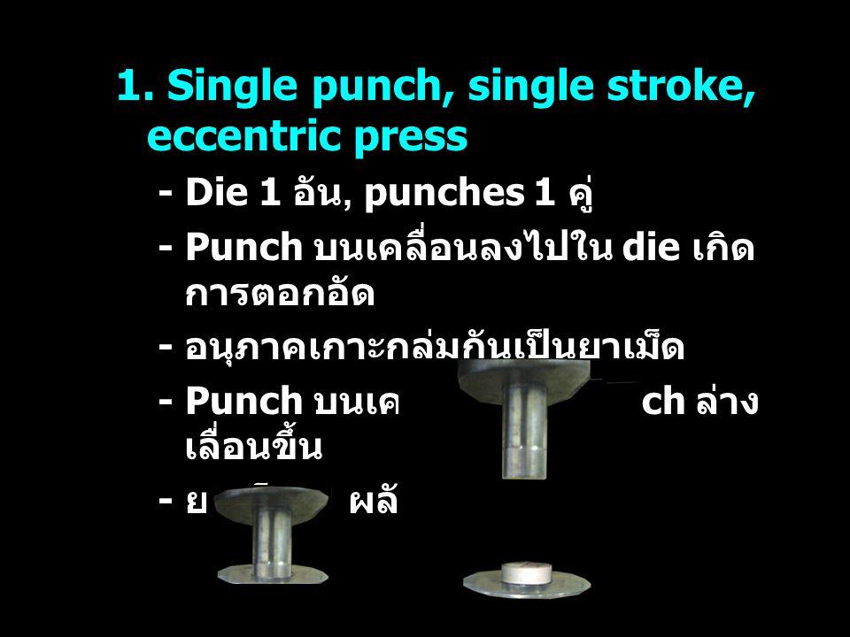1. Single punch, single stroke, eccentric press - Die 1 อัน, punches 1 คู่ - Punch บนเคลื่อนลงไปใน die เกิด การตอกอัด - อนุภาคเกาะกลุ่มกันเป็นยาเม็ด -