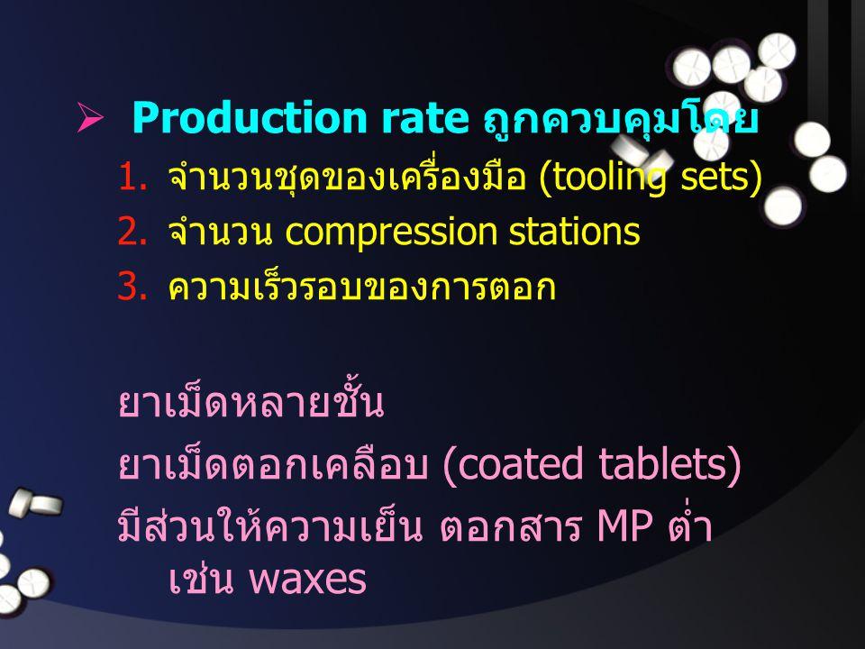  Production rate ถูกควบคุมโดย 1. จำนวนชุดของเครื่องมือ (tooling sets) 2. จำนวน compression stations 3. ความเร็วรอบของการตอก ยาเม็ดหลายชั้น ยาเม็ดตอกเ