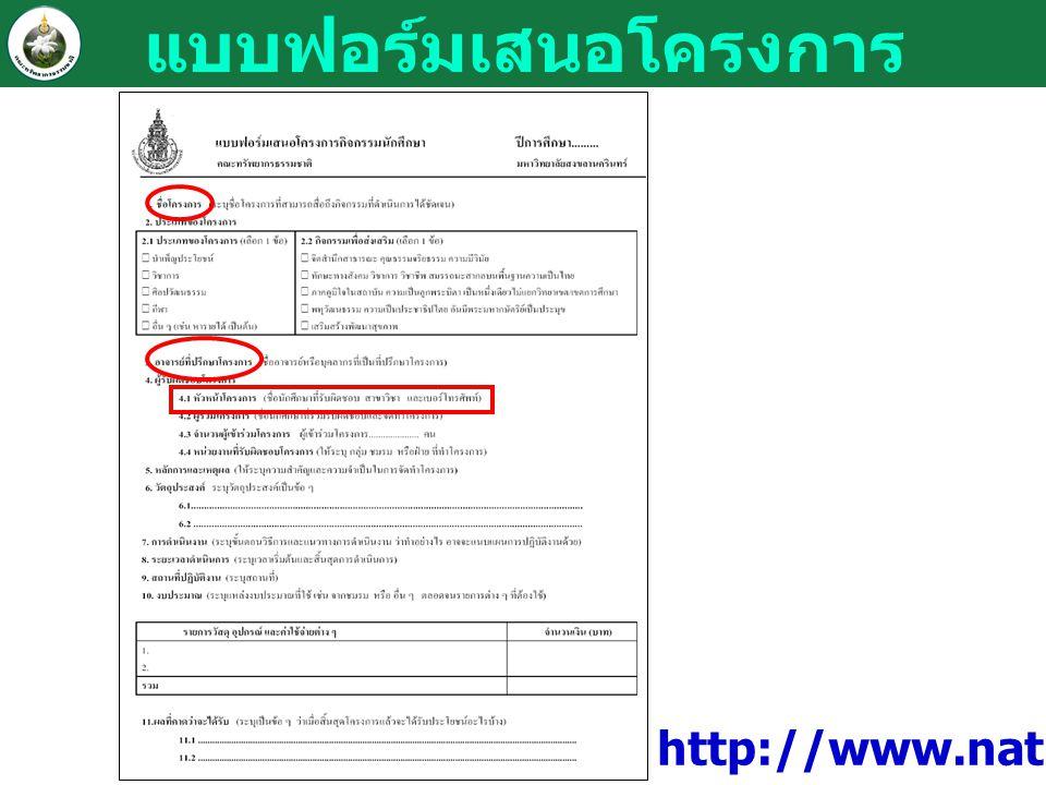 แบบฟอร์มเสนอโครงการ http://www.natres.psu.ac.th/