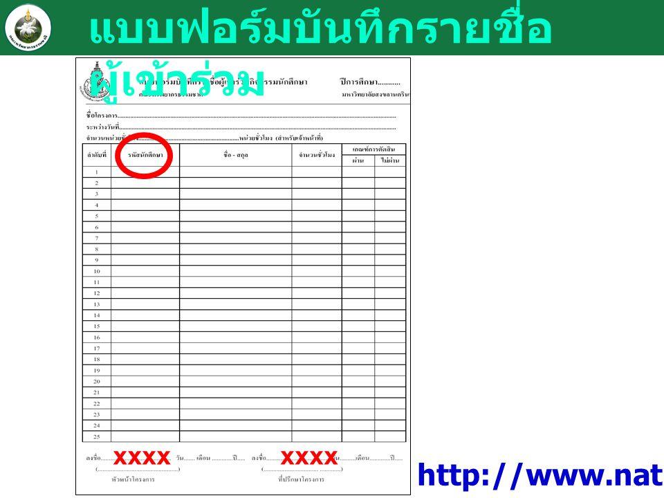แบบฟอร์มบันทึกรายชื่อ ผู้เข้าร่วม xxxx http://www.natres.psu.ac.th/