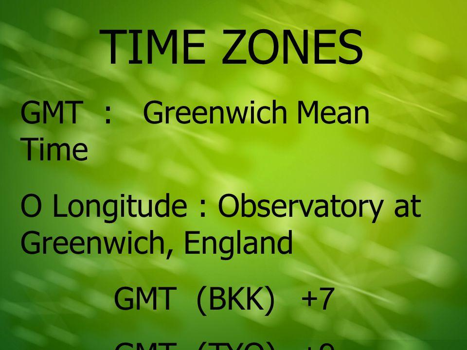 การหาค่า GMT ของแต่ละเมือง GMT (BKK) +/- ค่า BKK Time Difference ของเมือง ที่ต้องการหาค่า GMT การหาค่า GMT ของลอนดอน GMT (BKK) +/- ค่า BKK Time Difference ของเมือง ที่ต้องการหาค่า GMT +7-6=+1 เพราะฉะนั้น LON มีค่า GMT เท่ากับ +1