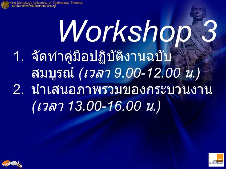 Workshop 3 1. จัดทำคู่มือปฏิบัติงานฉบับ สมบูรณ์ ( เวลา 9.00-12.00 น.) 2. นำเสนอภาพรวมของกระบวนงาน ( เวลา 13.00-16.00 น.)