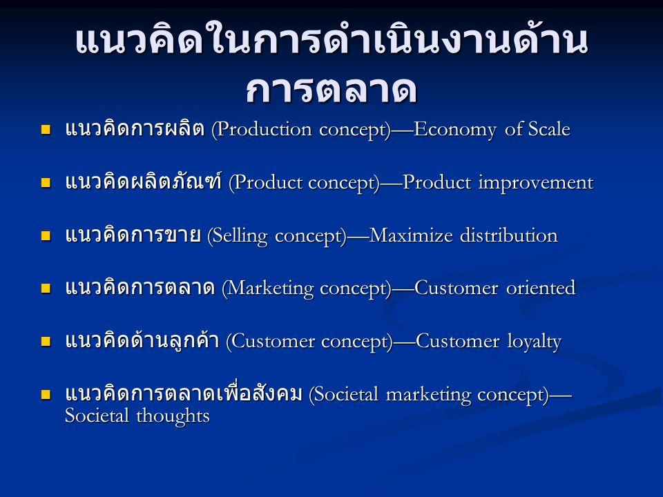 แนวคิดในการดำเนินงานด้าน การตลาด  แนวคิดการผลิต (Production concept)—Economy of Scale  แนวคิดผลิตภัณฑ์ (Product concept)—Product improvement  แนวคิ