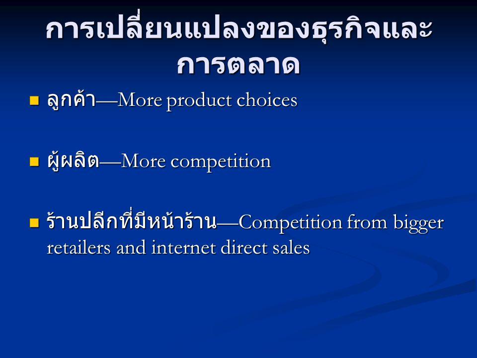 การเปลี่ยนแปลงของธุรกิจและ การตลาด  ลูกค้า —More product choices  ผู้ผลิต —More competition  ร้านปลีกที่มีหน้าร้าน —Competition from bigger retaile