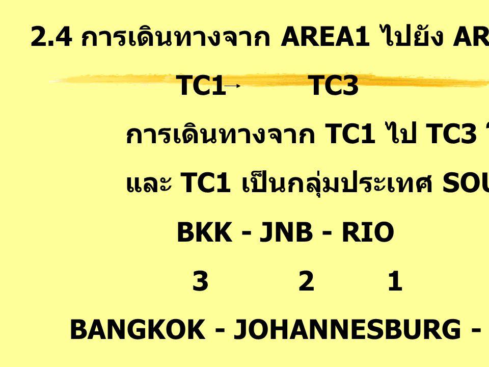 2.4 การเดินทางจาก AREA1 ไปยัง AREA3 : SA TC1 TC3 การเดินทางจาก TC1 ไป TC3 โดยมี TC2 คั่นกลาง และ TC1 เป็นกลุ่มประเทศ SOUTH ATLANTIC BKK - JNB - RIO 3