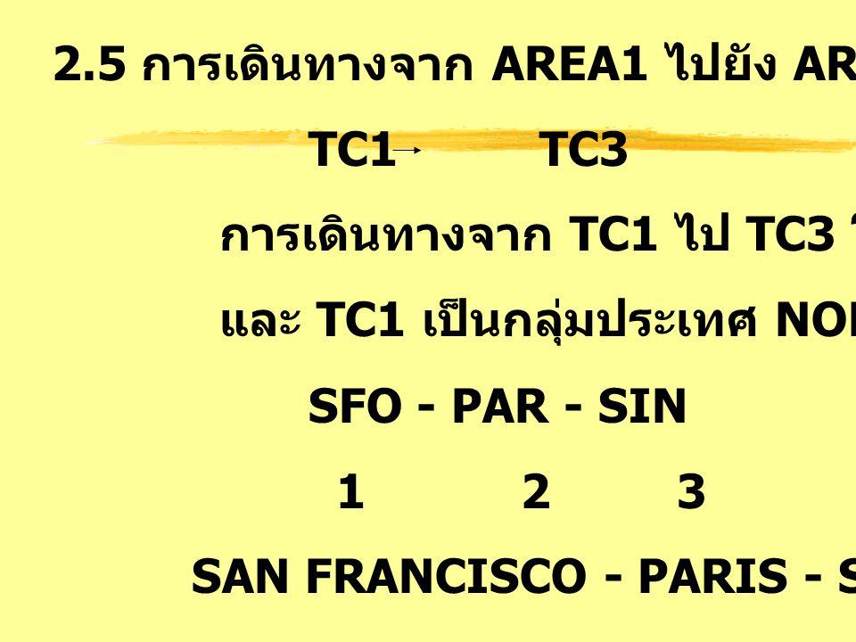 2.5 การเดินทางจาก AREA1 ไปยัง AREA3 : AT TC1 TC3 การเดินทางจาก TC1 ไป TC3 โดยมี TC2 คั่นกลาง และ TC1 เป็นกลุ่มประเทศ NORTH ATLANTIC SFO - PAR - SIN 1
