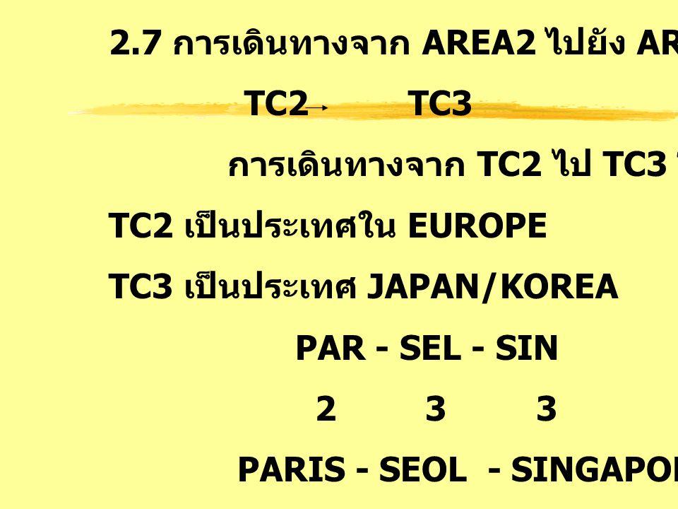 2.7 การเดินทางจาก AREA2 ไปยัง AREA3 : TS TC2 TC3 การเดินทางจาก TC2 ไป TC3 โดย TC2 เป็นประเทศใน EUROPE TC3 เป็นประเทศ JAPAN/KOREA PAR - SEL - SIN 2 3 3