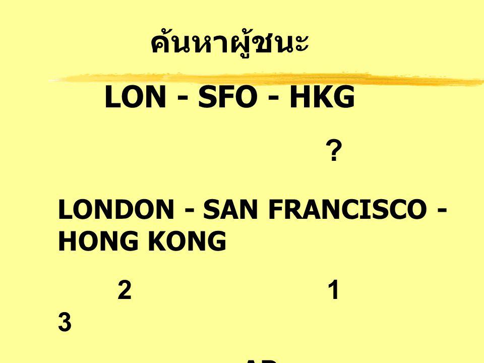 ค้นหาผู้ชนะ LON - SFO - HKG ? LONDON - SAN FRANCISCO - HONG KONG 2 1 3 AP