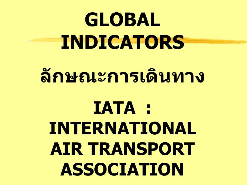 GLOBAL INDICATORS ลักษณะการเดินทาง IATA : INTERNATIONAL AIR TRANSPORT ASSOCIATION สมาคมขนส่งทาง อากาศ ระหว่างประเทศ