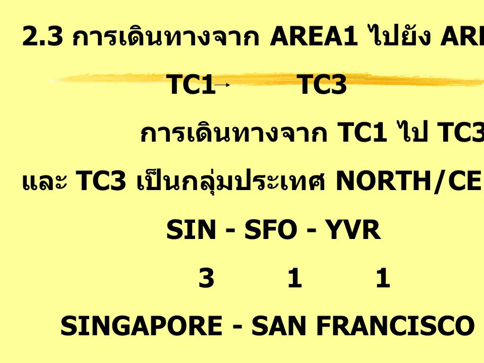 2.4 การเดินทางจาก AREA1 ไปยัง AREA3 : SA TC1 TC3 การเดินทางจาก TC1 ไป TC3 โดยมี TC2 คั่นกลาง และ TC1 เป็นกลุ่มประเทศ SOUTH ATLANTIC BKK - JNB - RIO 3 2 1 BANGKOK - JOHANNESBURG - RIO DE JANEIRO
