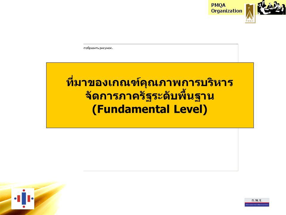 PMQA Organization ที่มาของเกณฑ์คุณภาพการบริหาร จัดการภาครัฐระดับพื้นฐาน (Fundamental Level)