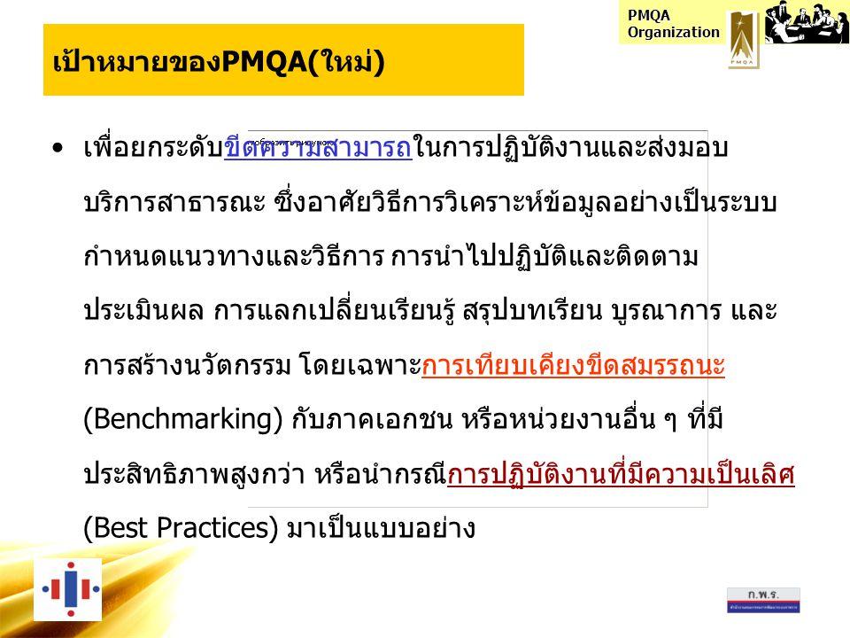 PMQA Organization เป้าหมายของPMQA(ใหม่) •เพื่อยกระดับขีดความสามารถในการปฏิบัติงานและส่งมอบ บริการสาธารณะ ซึ่งอาศัยวิธีการวิเคราะห์ข้อมูลอย่างเป็นระบบ