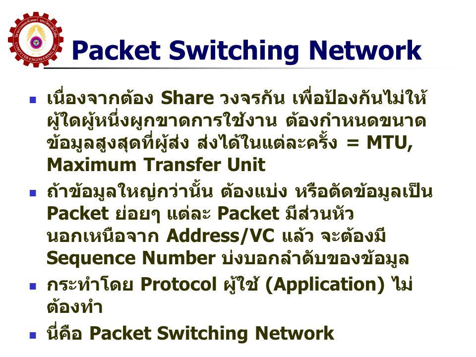 Packet Switching Network  เนื่องจากต้อง Share วงจรกัน เพื่อป้องกันไม่ให้ ผู้ใดผู้หนึ่งผูกขาดการใช้งาน ต้องกำหนดขนาด ข้อมูลสูงสุดที่ผู้ส่ง ส่งได้ในแต่ละครั้ง = MTU, Maximum Transfer Unit  ถ้าข้อมูลใหญ่กว่านั้น ต้องแบ่ง หรือตัดข้อมูลเป็น Packet ย่อยๆ แต่ละ Packet มีส่วนหัว นอกเหนือจาก Address/VC แล้ว จะต้องมี Sequence Number บ่งบอกลำดับของข้อมูล  กระทำโดย Protocol ผู้ใช้ (Application) ไม่ ต้องทำ  นี่คือ Packet Switching Network