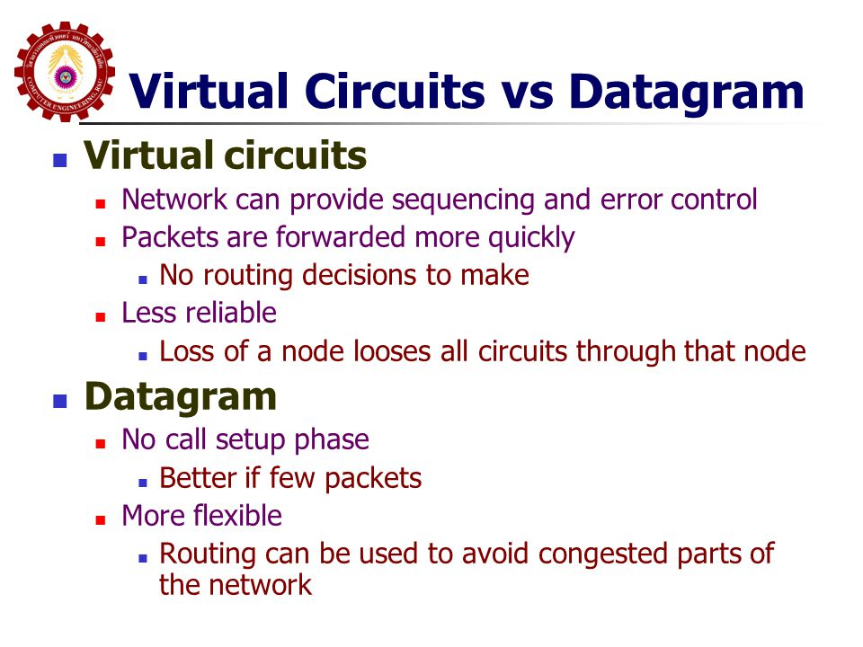 Virtual Circuits vs Datagram  Virtual circuits  Network can provide sequencing and error control  Packets are forwarded more quickly  No routing d