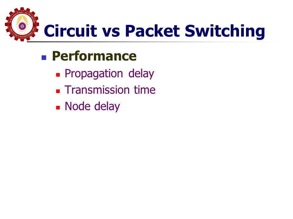 Circuit vs Packet Switching  Performance  Propagation delay  Transmission time  Node delay
