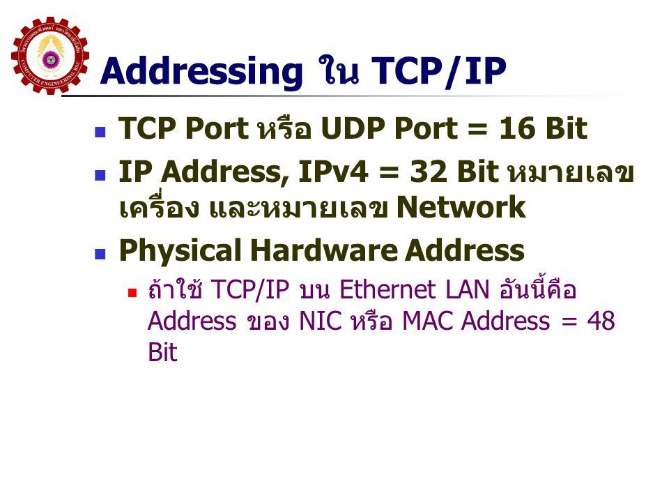 Addressing ใน TCP/IP  TCP Port หรือ UDP Port = 16 Bit  IP Address, IPv4 = 32 Bit หมายเลข เครื่อง และหมายเลข Network  Physical Hardware Address  ถ้าใช้ TCP/IP บน Ethernet LAN อันนี้คือ Address ของ NIC หรือ MAC Address = 48 Bit