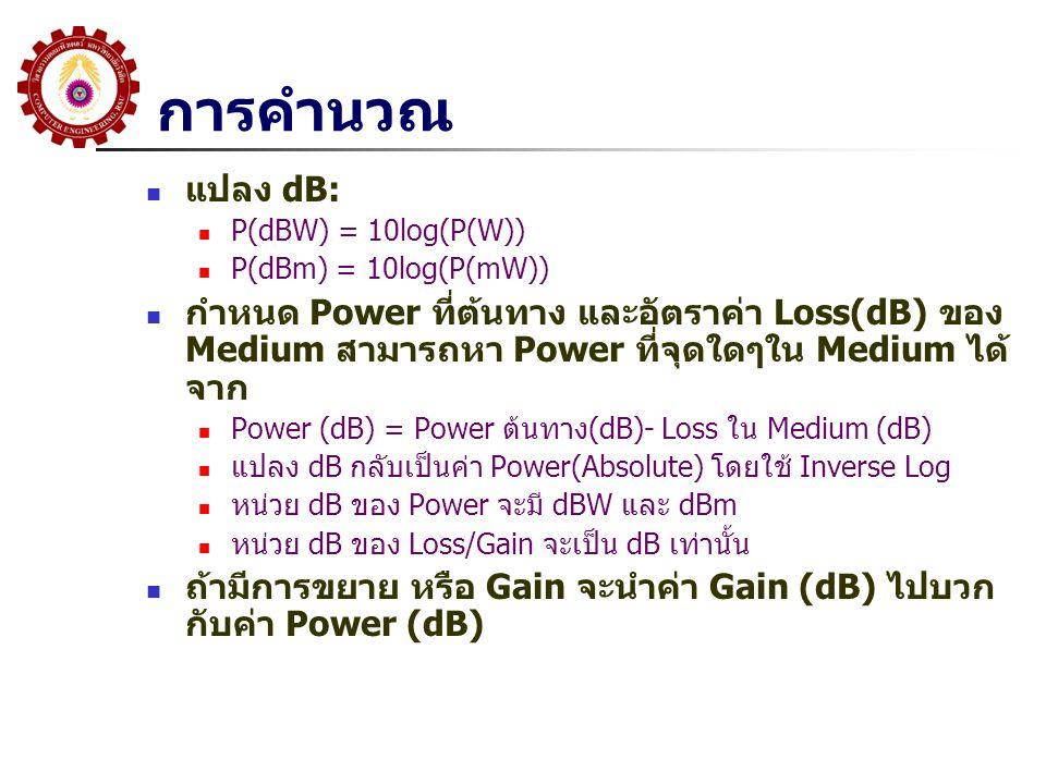 การคำนวณ  แปลง dB:  P(dBW) = 10log(P(W))  P(dBm) = 10log(P(mW))  กำหนด Power ที่ต้นทาง และอัตราค่า Loss(dB) ของ Medium สามารถหา Power ที่จุดใดๆใน Medium ได้ จาก  Power (dB) = Power ต้นทาง(dB)- Loss ใน Medium (dB)  แปลง dB กลับเป็นค่า Power(Absolute) โดยใช้ Inverse Log  หน่วย dB ของ Power จะมี dBW และ dBm  หน่วย dB ของ Loss/Gain จะเป็น dB เท่านั้น  ถ้ามีการขยาย หรือ Gain จะนำค่า Gain (dB) ไปบวก กับค่า Power (dB)