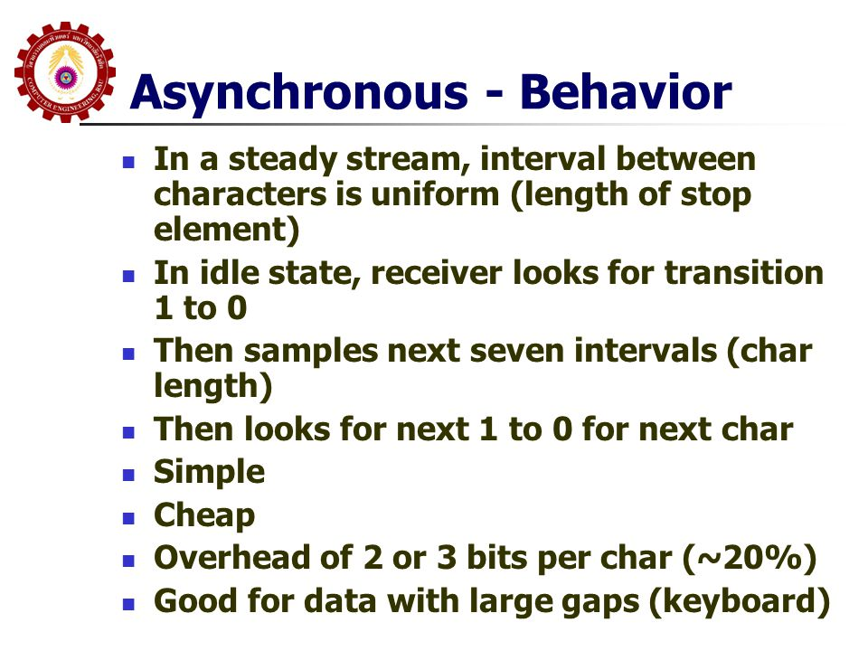 Asynchronous - Behavior  In a steady stream, interval between characters is uniform (length of stop element)  In idle state, receiver looks for tran