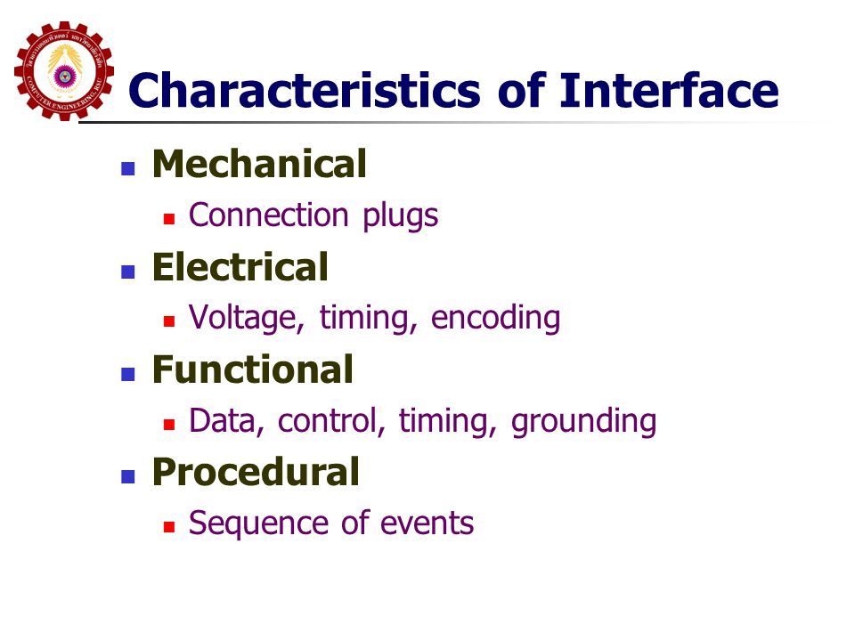Characteristics of Interface  Mechanical  Connection plugs  Electrical  Voltage, timing, encoding  Functional  Data, control, timing, grounding